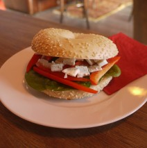 Feta &amp; Red Pepper Bagel