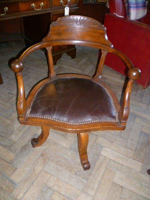 Antique Oak Swivel Office Chair Eras Of Style Eras Of