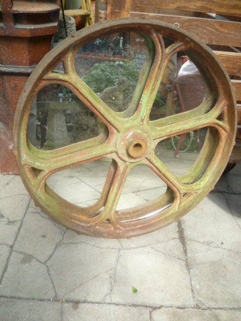 Antique Cast Iron Tractor Wheel Mirror