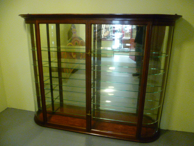 Victorian Mahogany Bow Fronted Glass Wall Mounted Shop