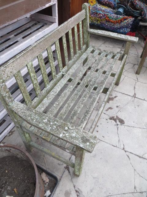 Vintage Lister Weathered Teak Garden Bench Eras Of Style Eras Of Style