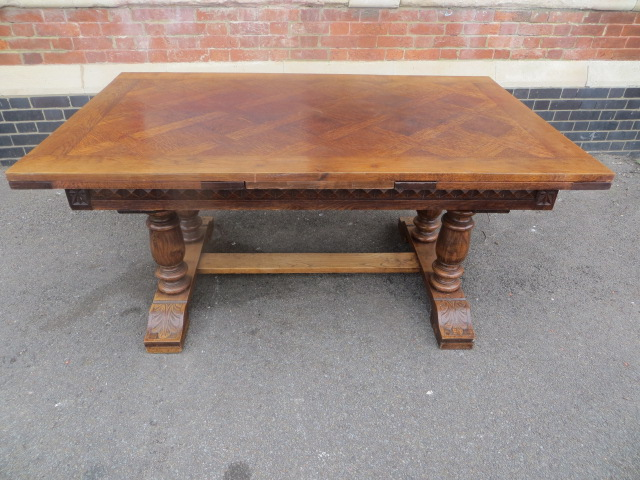 Large French Oak Parquetry Topped Draw Leaf Dining Table Eras Of
