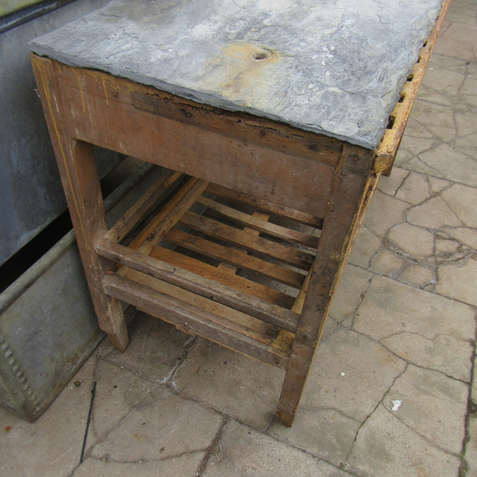 Antique French Potting Table In The Original Paint With