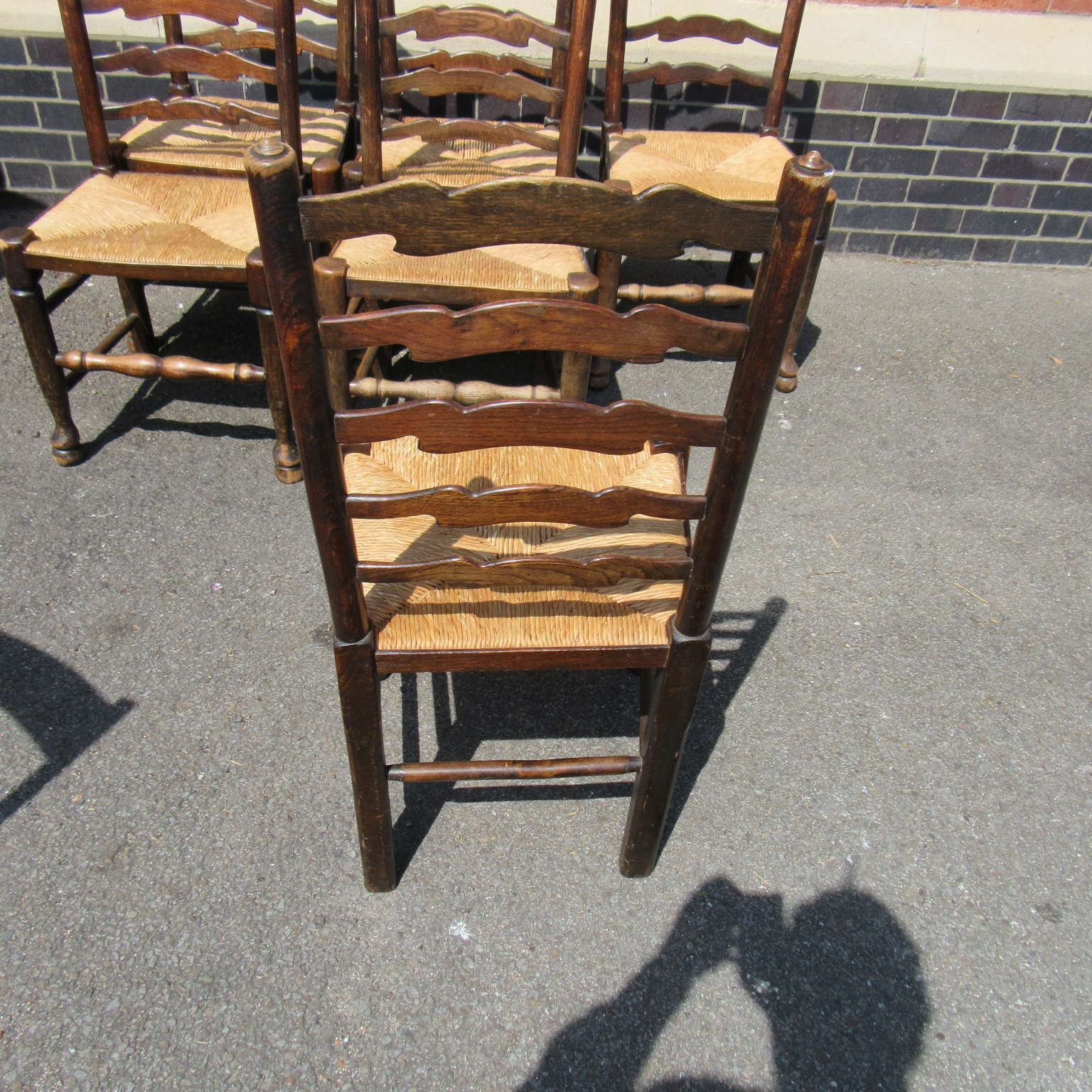 set of six oak antique ladder back dining chairs eras of style