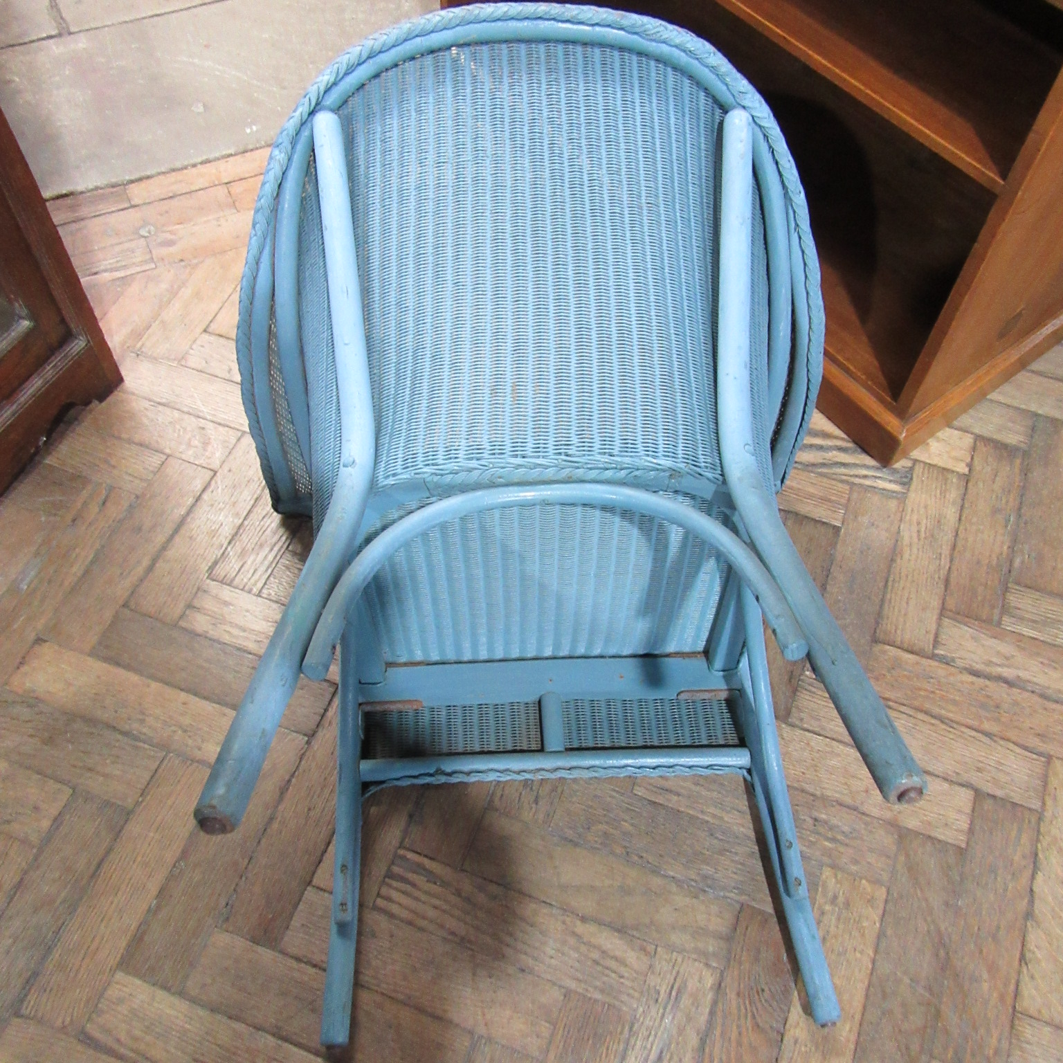 vintage lloyd loom armchair in the original colour blue eras of style eras of style. Black Bedroom Furniture Sets. Home Design Ideas