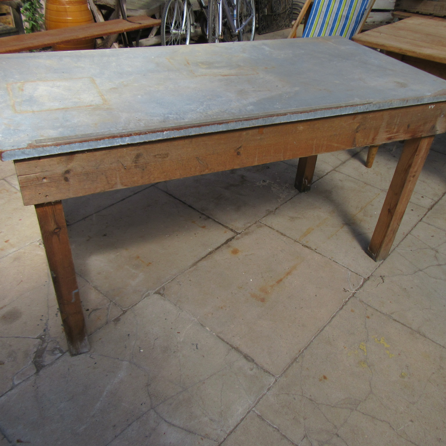 Antique Zinc Top Work Table Eras Of Style Eras Of Style