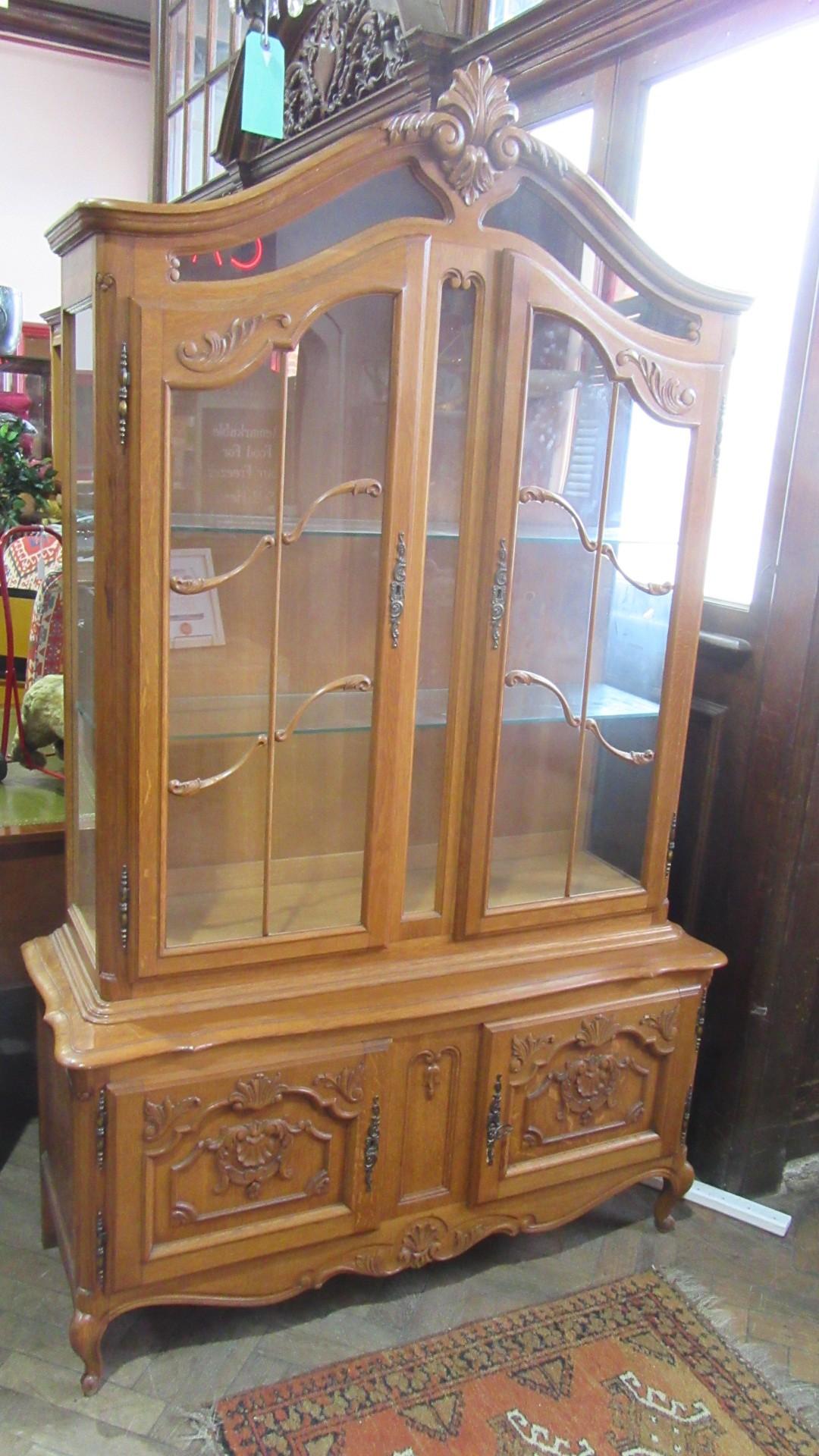 vintage french oak vitrine eras of style eras of style. Black Bedroom Furniture Sets. Home Design Ideas