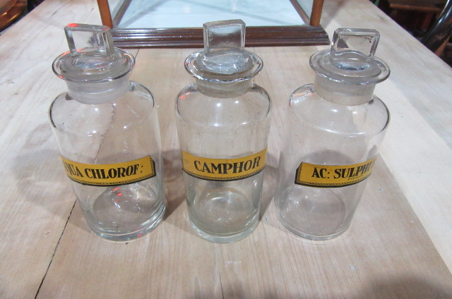 THREE ANTIQUE CHEMISTS BOTTLES