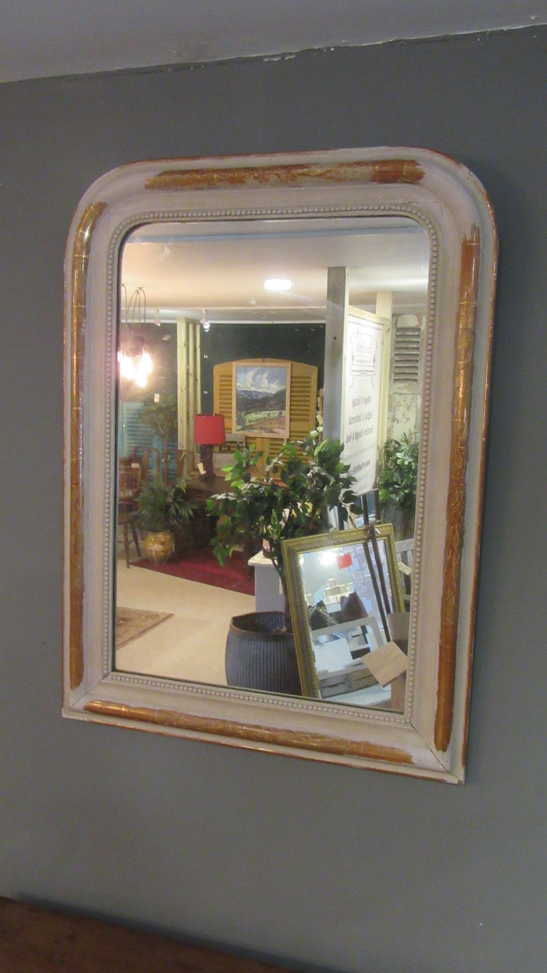 ANTIQUE FRENCH GILDED & OVER PAINTED MIRROR
