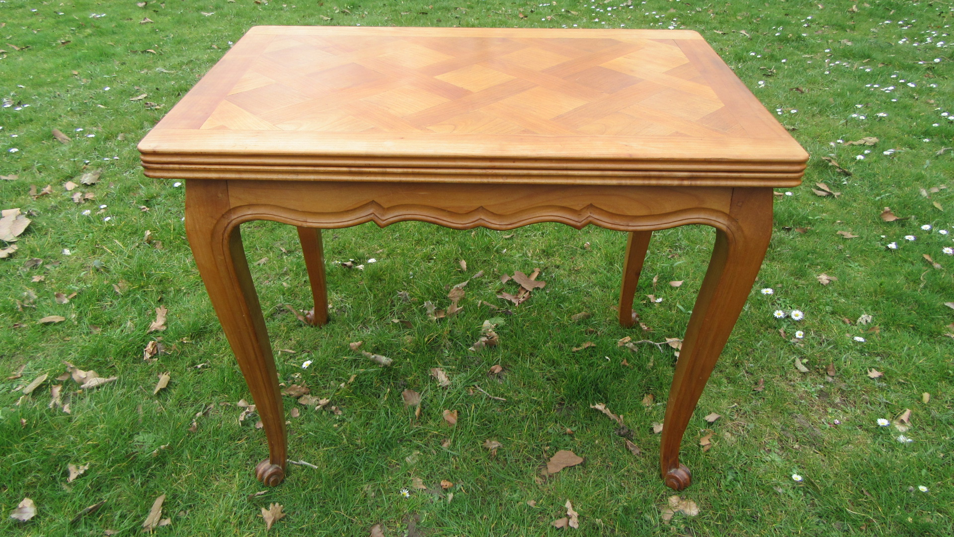 VINTAGE FRENCH CHERRY WOOD SWIVEL TOP TABLE
