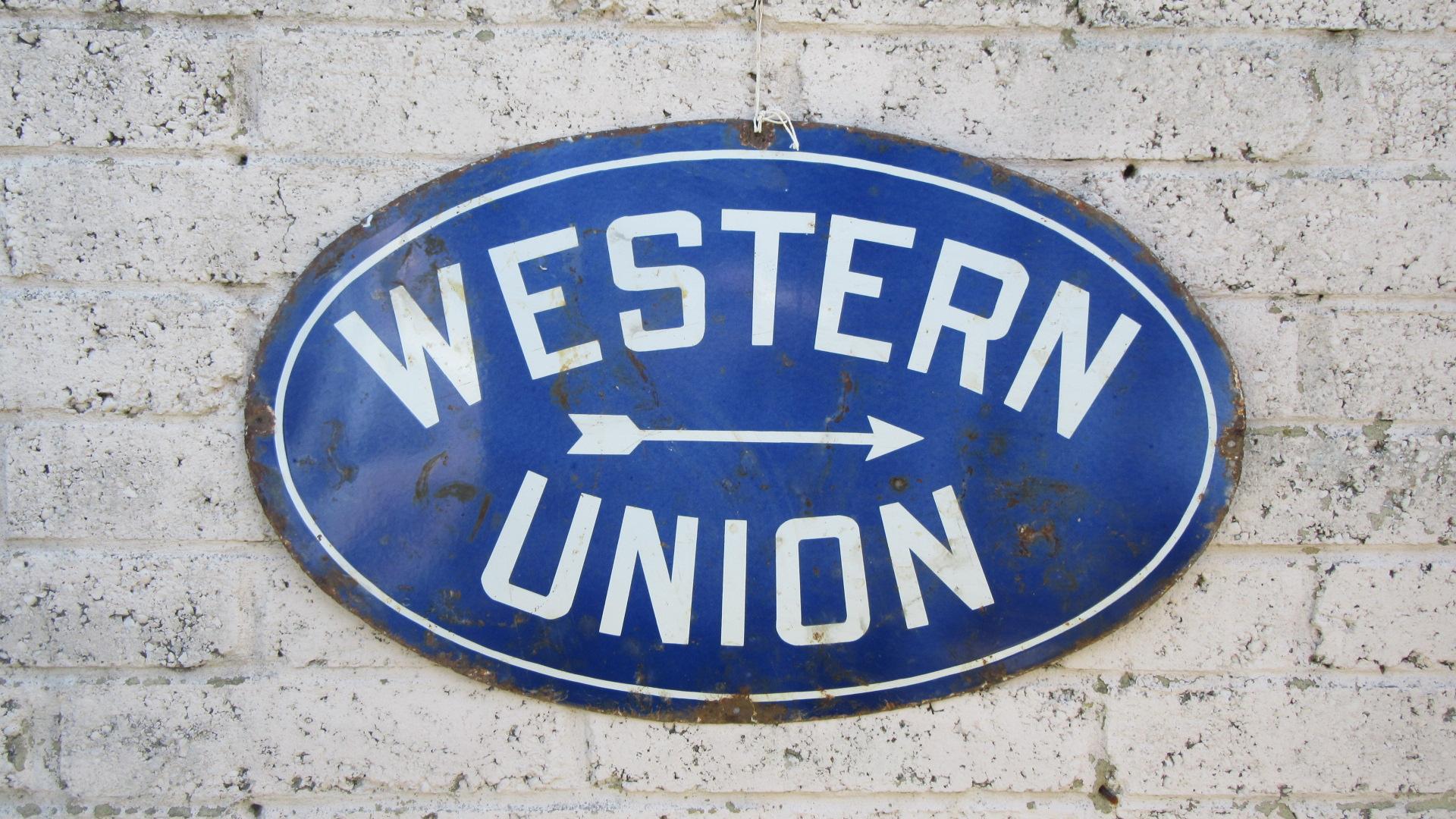 VINTAGE WESTERN UNION ENAMEL ADVERTISING SIGN
