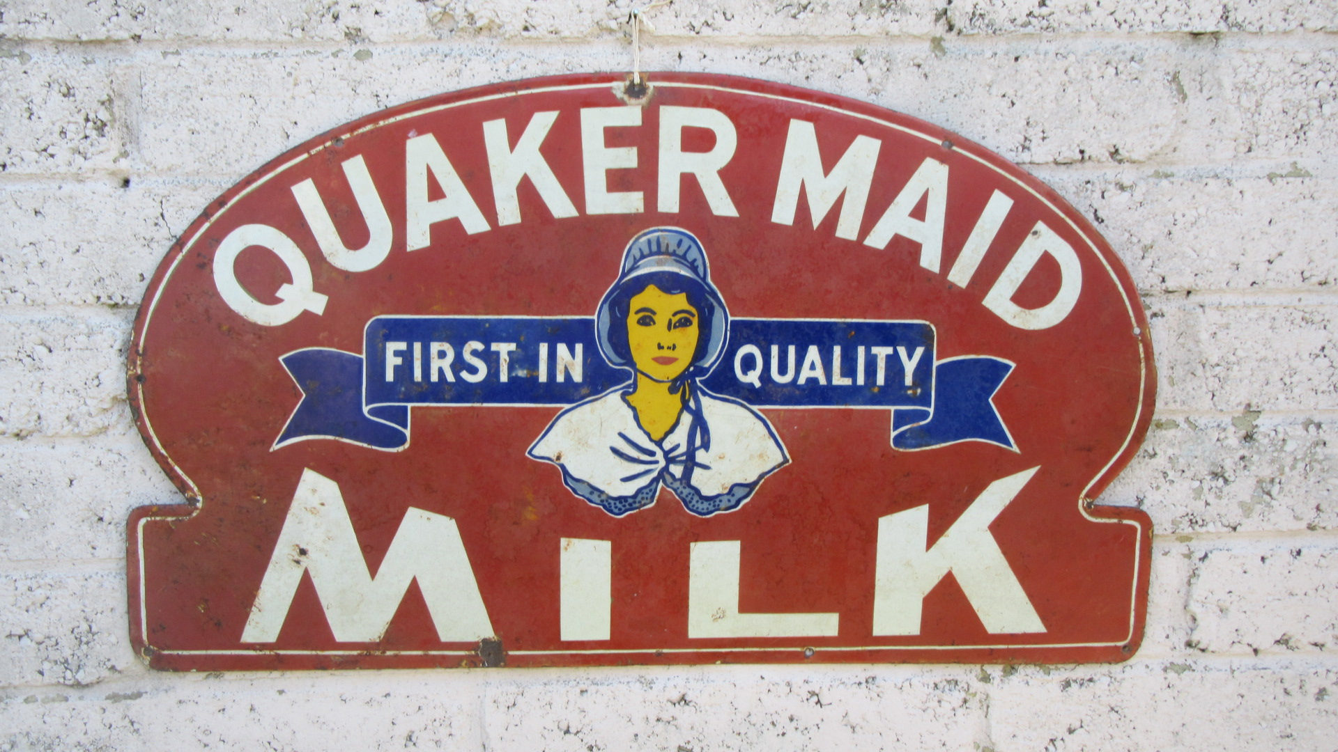 VINTAGE QUAKER MAID MILK  ENAMEL ADVERTISING SIGN