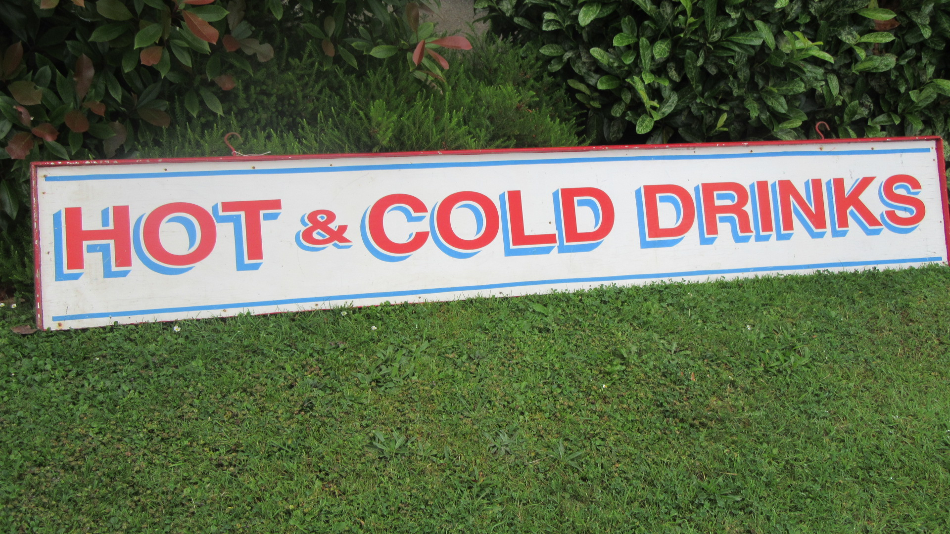 VINTAGE 8FT HAND PAINTED HANGING DRINKS SIGN