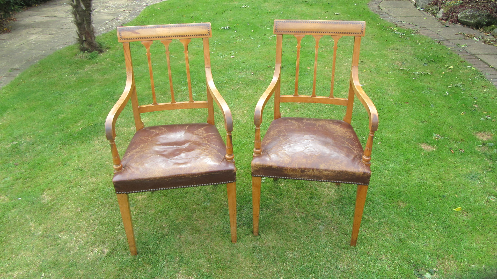 PAIR OF ANTIQUE EDWARDIAN INLAID SATIN WOOD CHAIRS