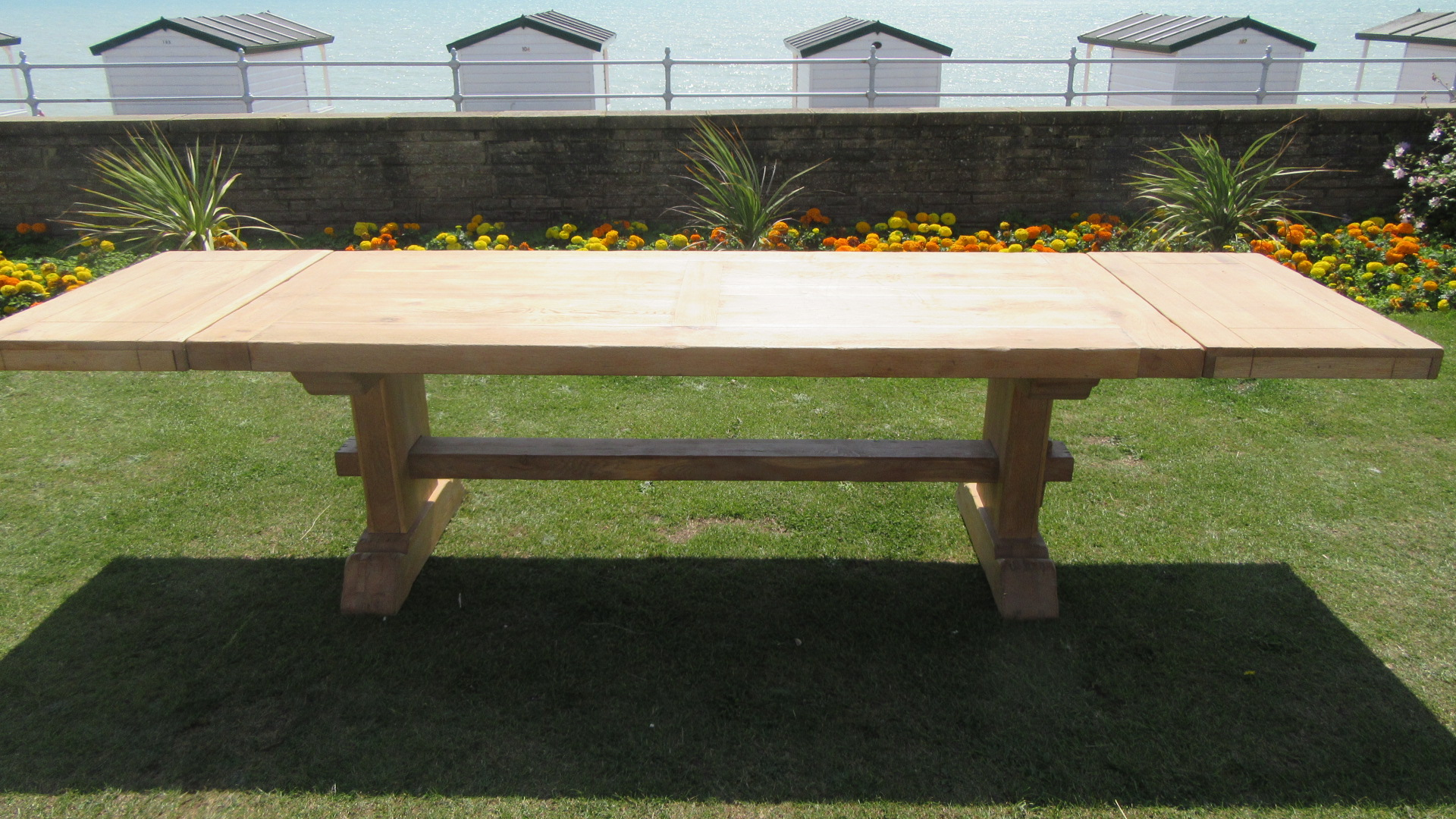 LARGE 10 ft  OAK DRAW LEAF REFECTORY DINING TABLE