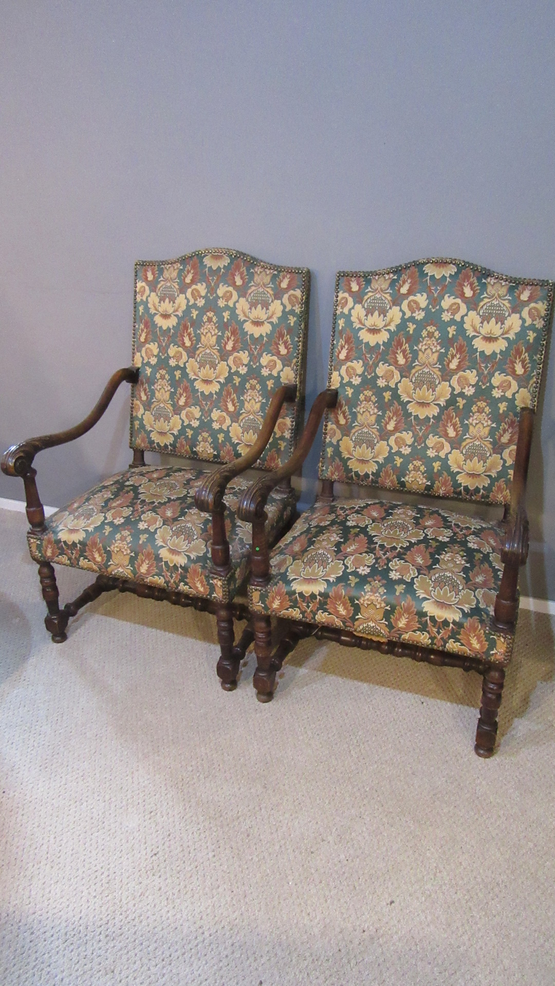 PAIR OF ANTIQUE GAINSBOROUGH STYLE OPEN ARMCHAIRS