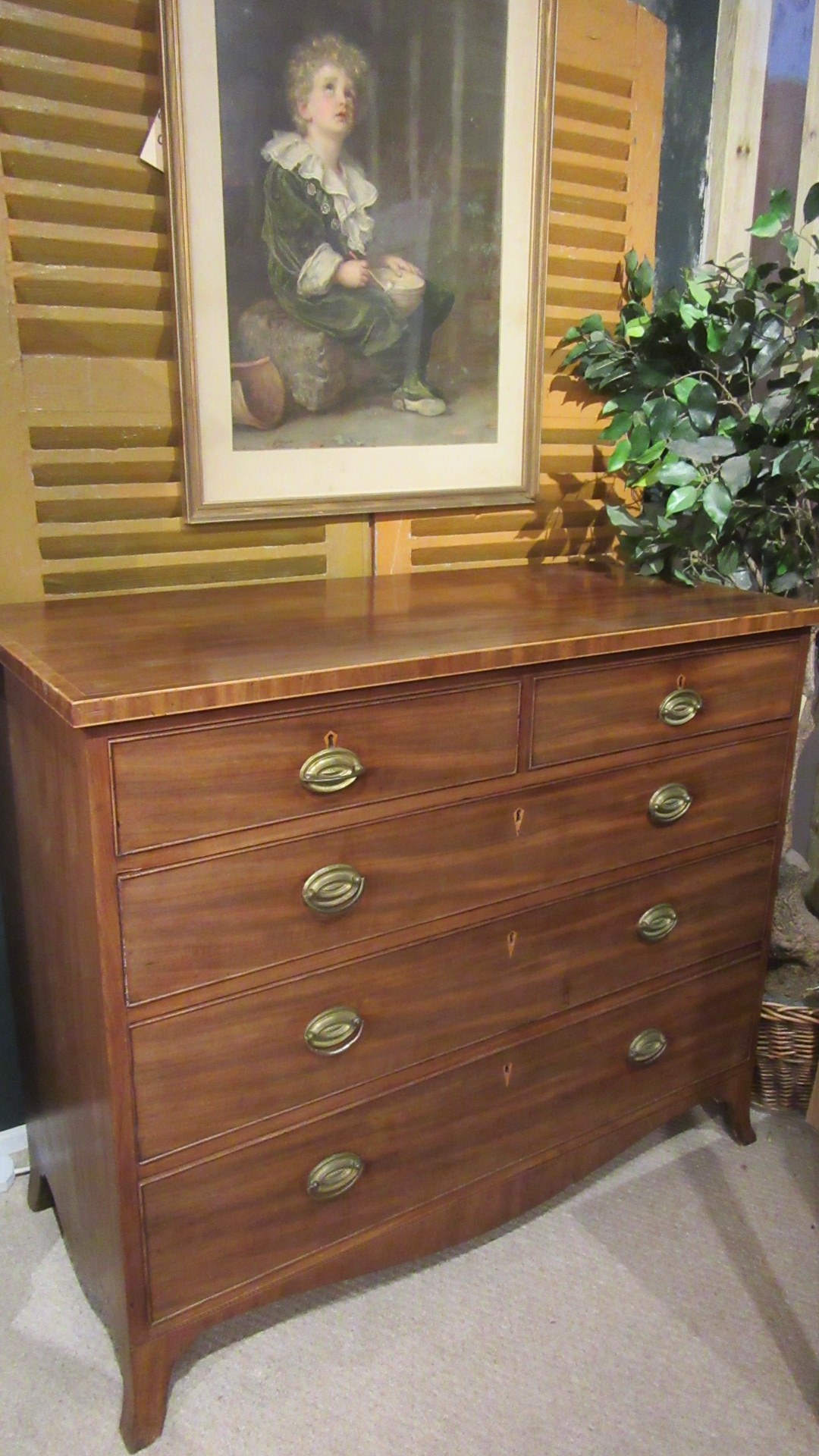 ANTIQUE REGENCY INLAID MAHOGANY CHEST OF DRAWERS
