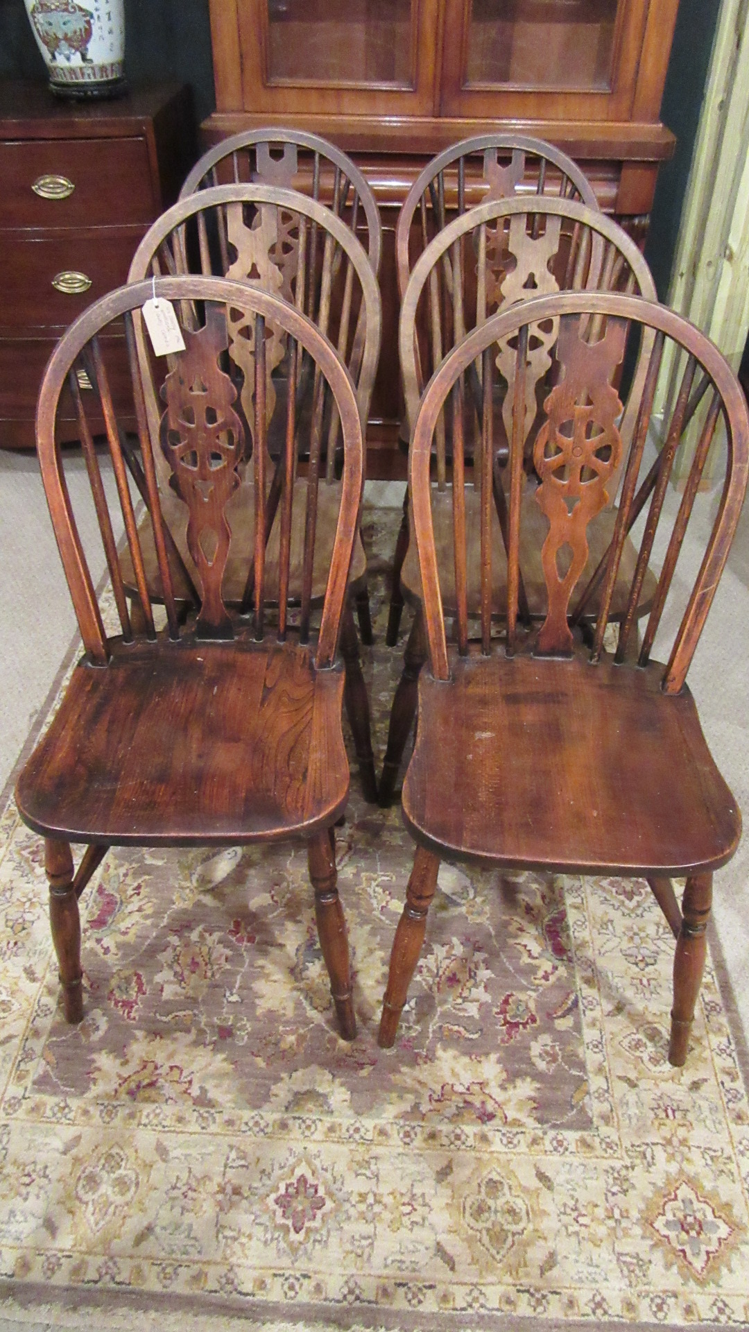 SIX ANTIQUE COUNTRY OAK WHEEL BACK DINING CHAIRS