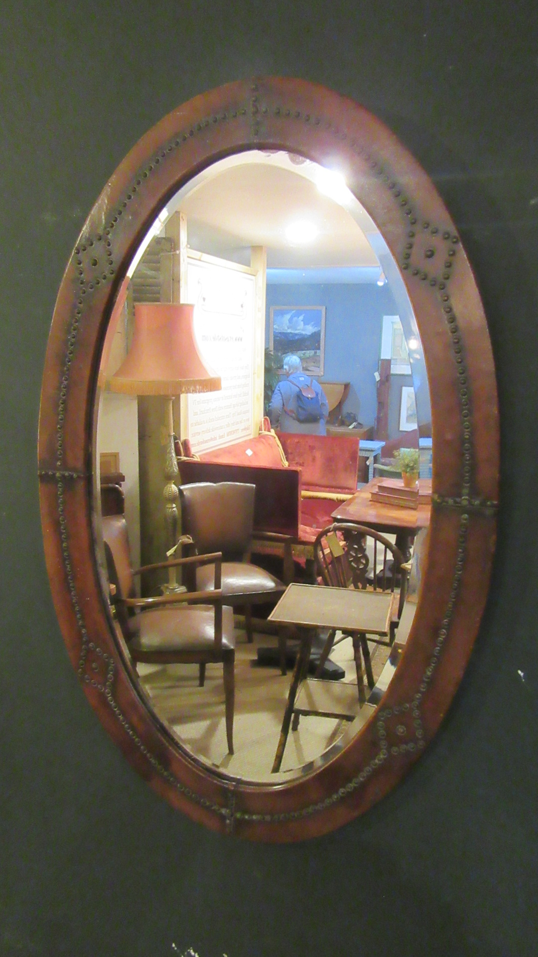 ANTIQUE STUDDED LEATHER WALL MIRROR
