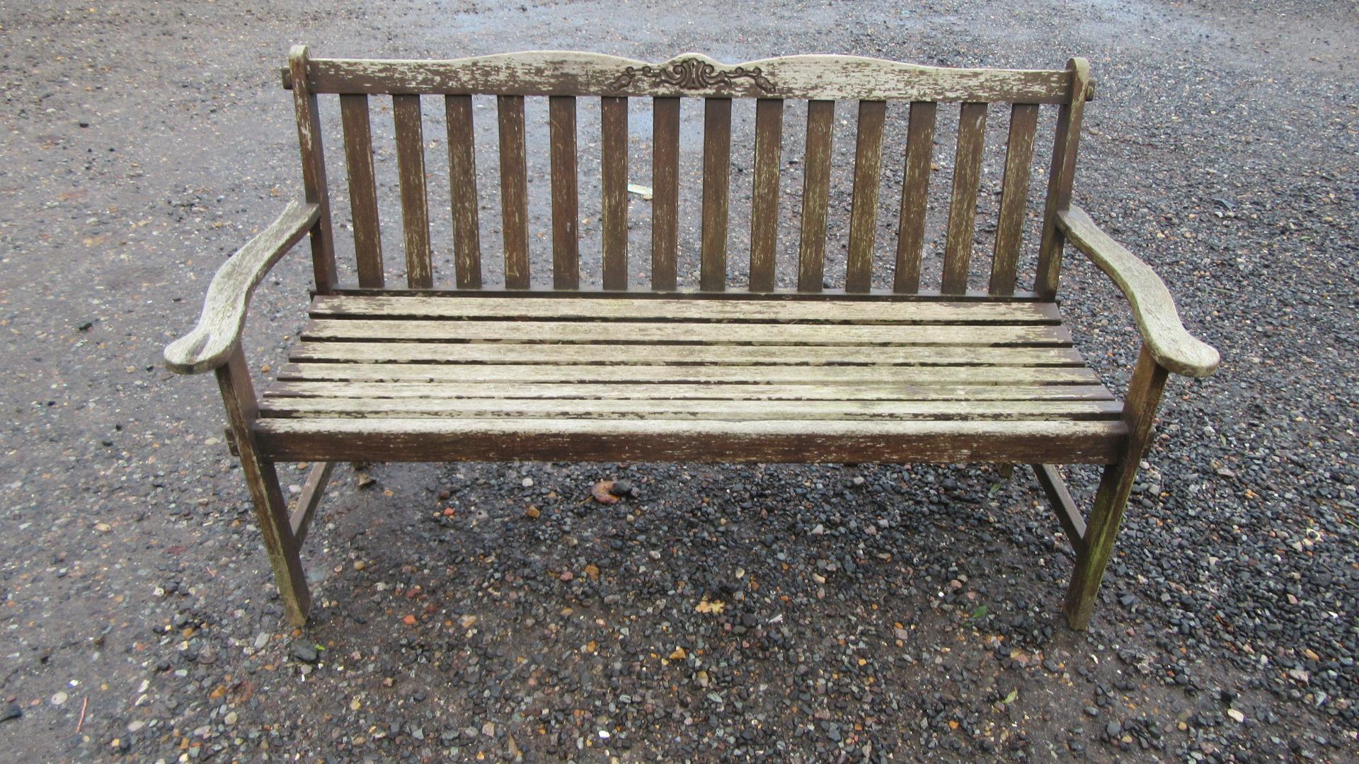 VINTAGE STAINED TEAK GARDEN BENCH / SEAT