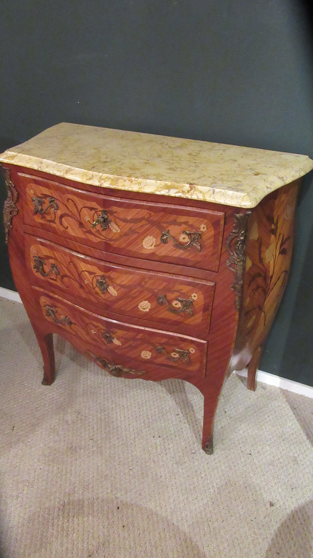DECORATIVE INLAID FRENCH BOMBE CHEST OF DRAWERS
