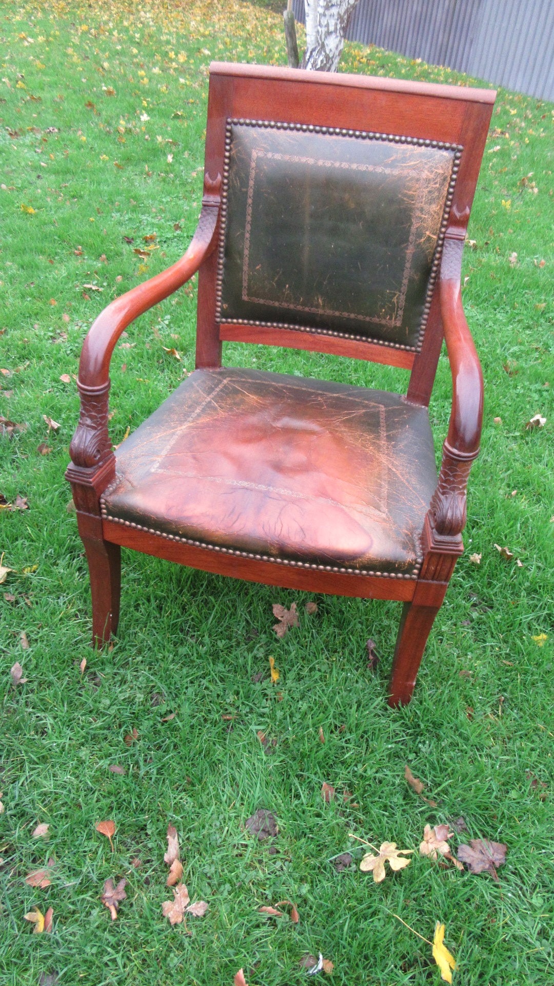 EMPIRE STYLE LEATHER FRENCH DESK CHAIR