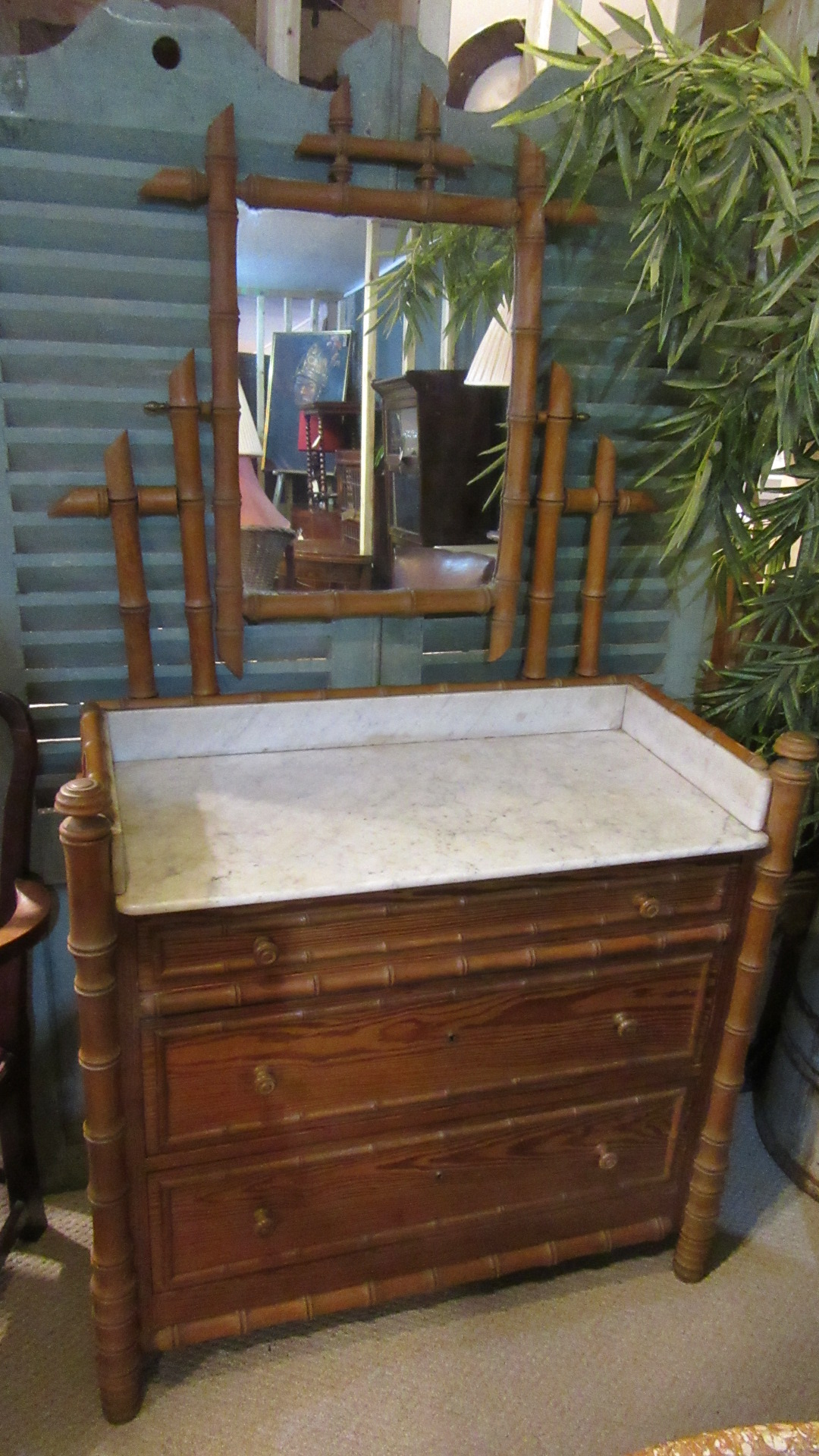 ANTIQUE FRENCH FEUX BAMBOO DRESSING CHEST