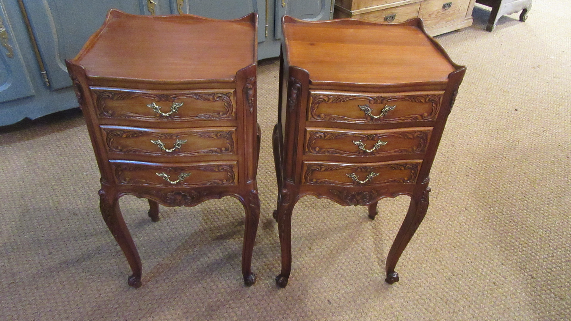 PAIR OF VINTAGE FRENCH CHERRY WOOD BEDSIDE CHESTS