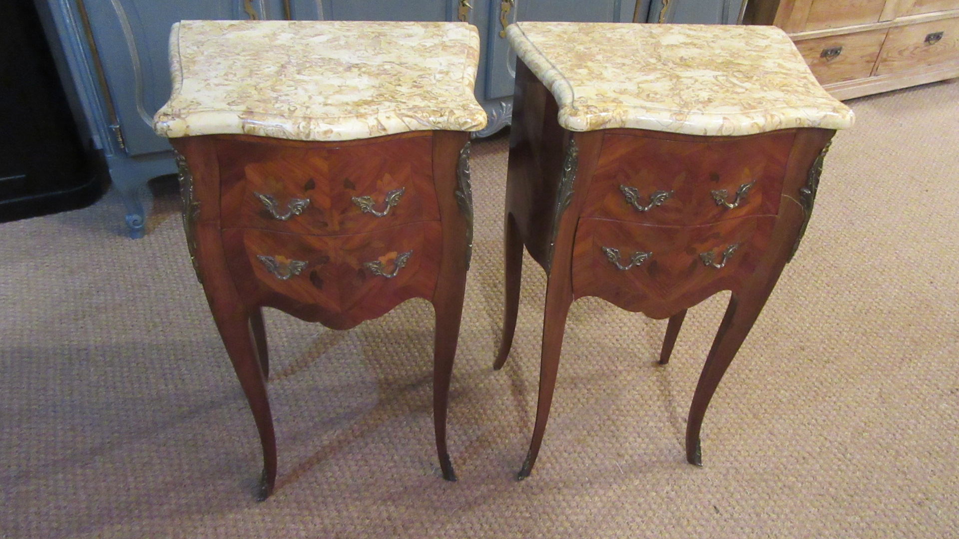 PAIR OF ANTIQUE FRENCH INLAID BEDSIDES