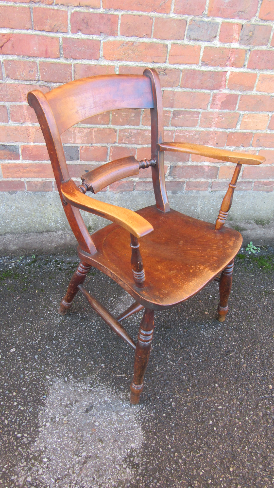 ANTIQUE VICTORIAN  COUNTRY ELM WINDSOR ELBOW CHAIR