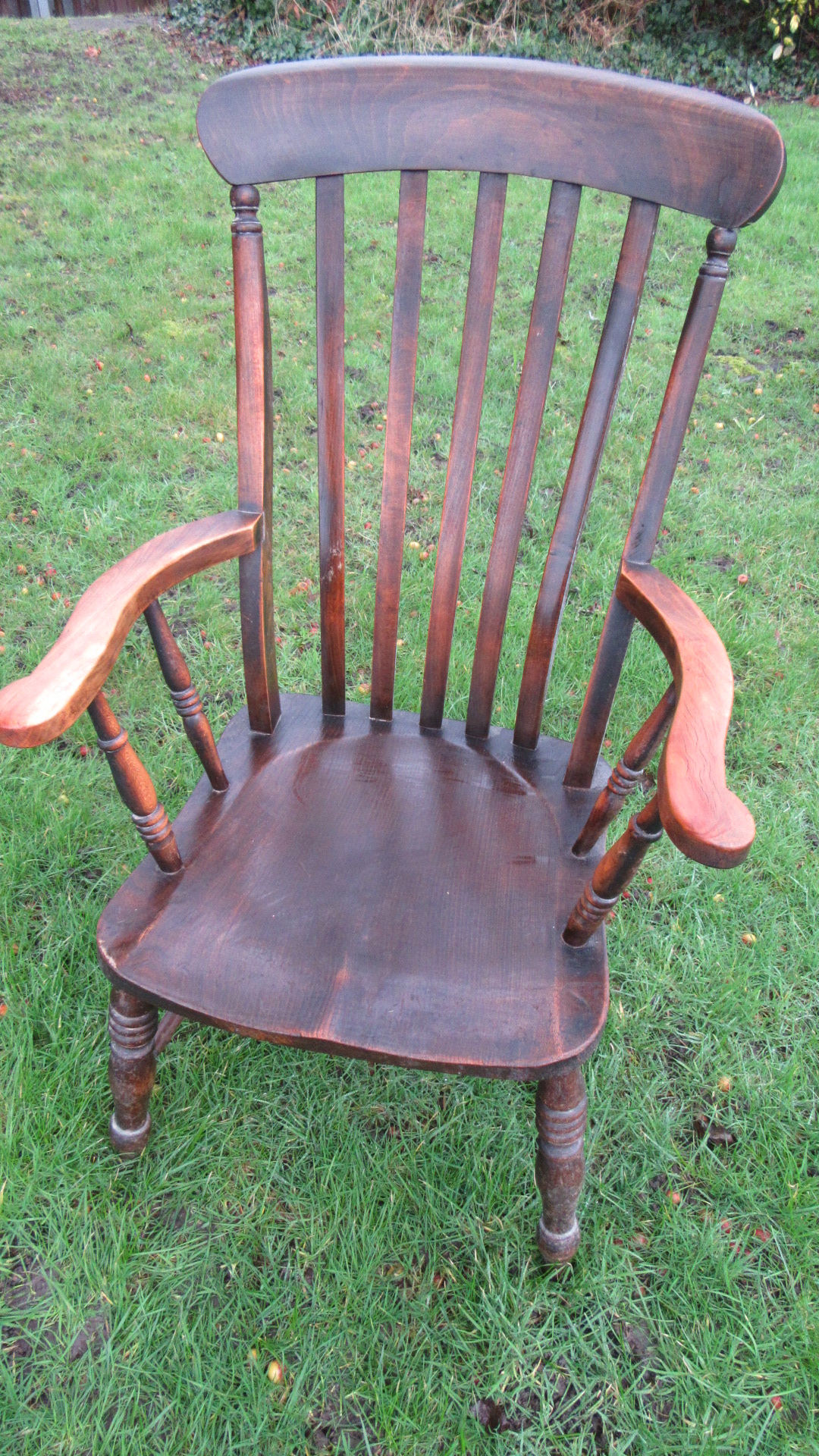 ANTIQUE VICTORIAN SLAT BACK COUNTRY WINDSOR ARMCHAIR