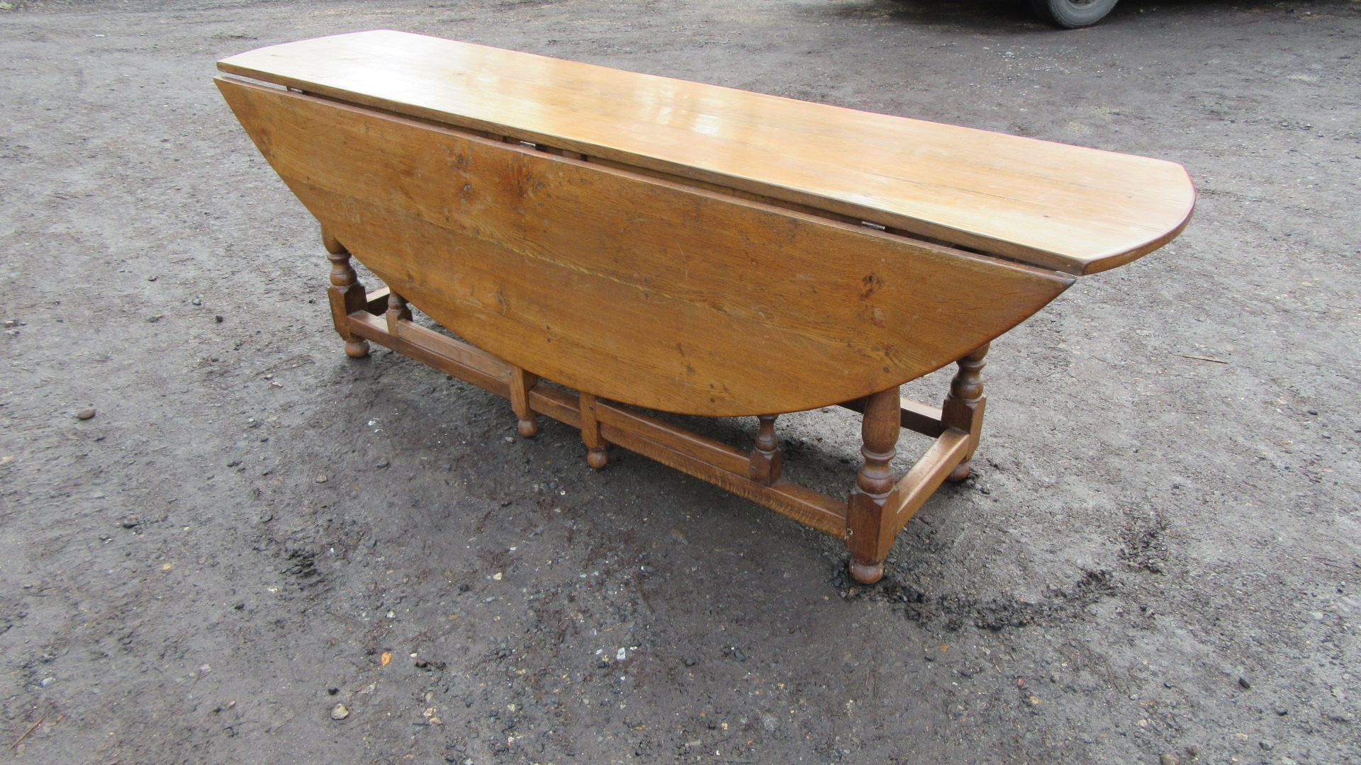 large antique country oak wake table