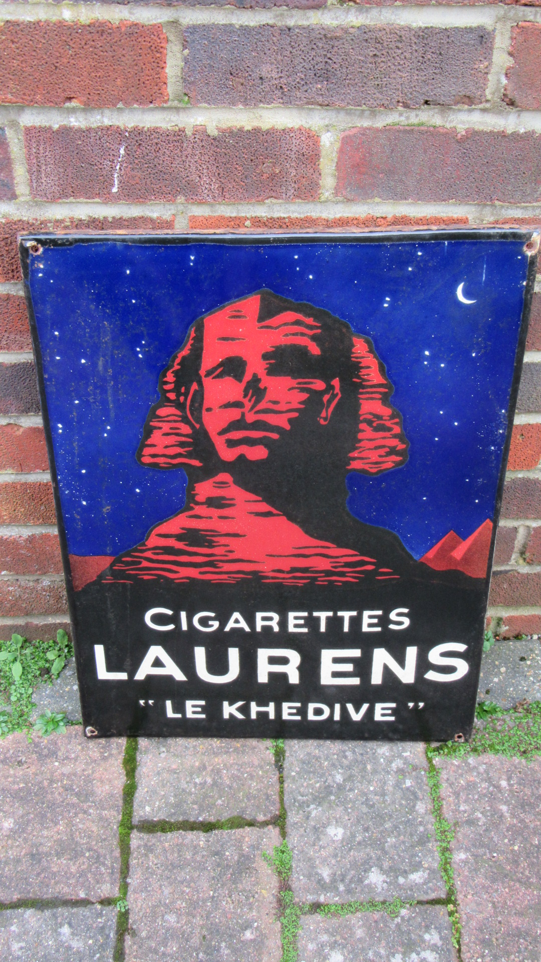 VINTAGE LAURENS CIGARETTES ENAMEL ADVERTISING SIGN