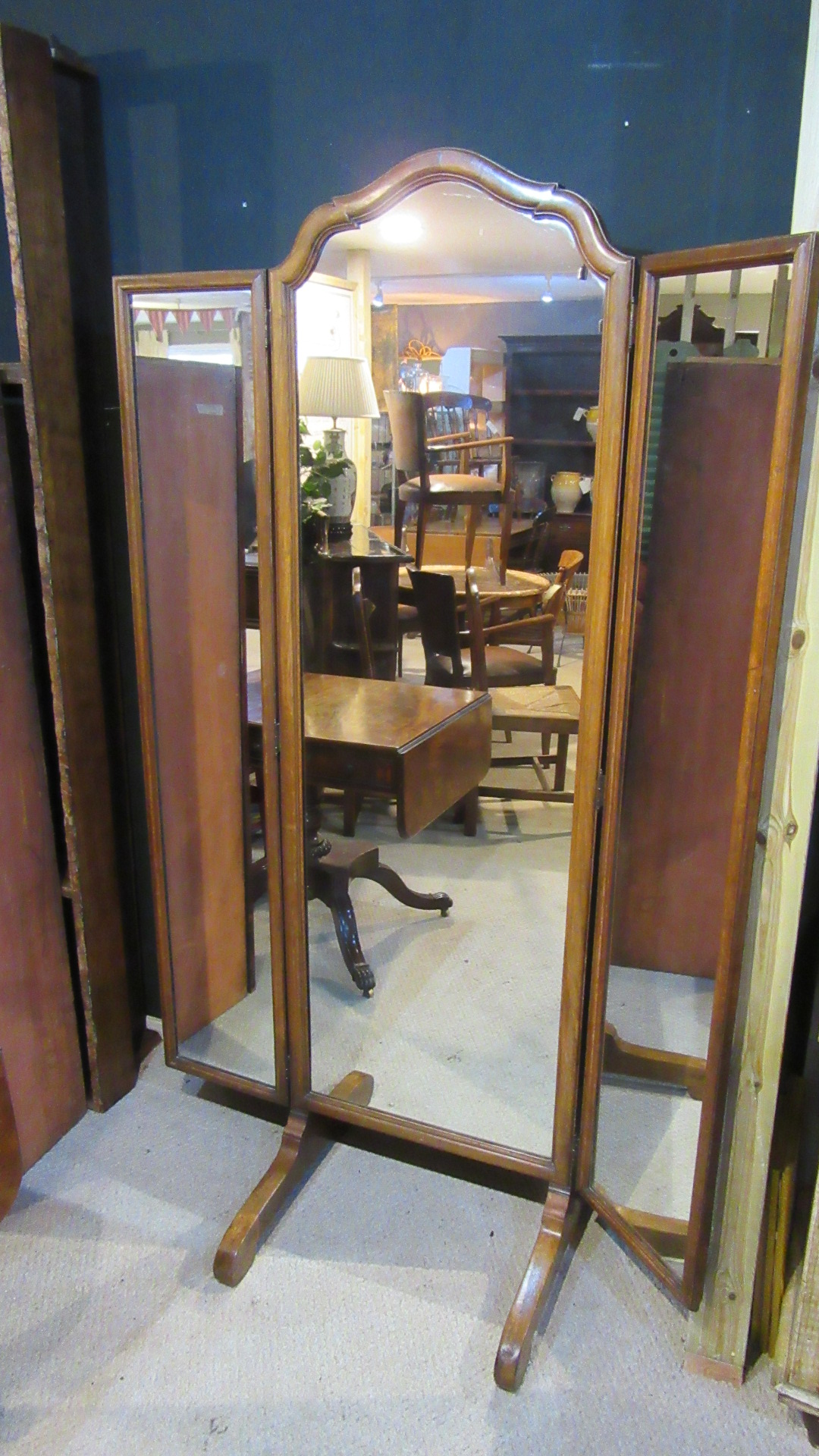 ANTIQUE WALNUT CHEVAL DRESSING MIRROR