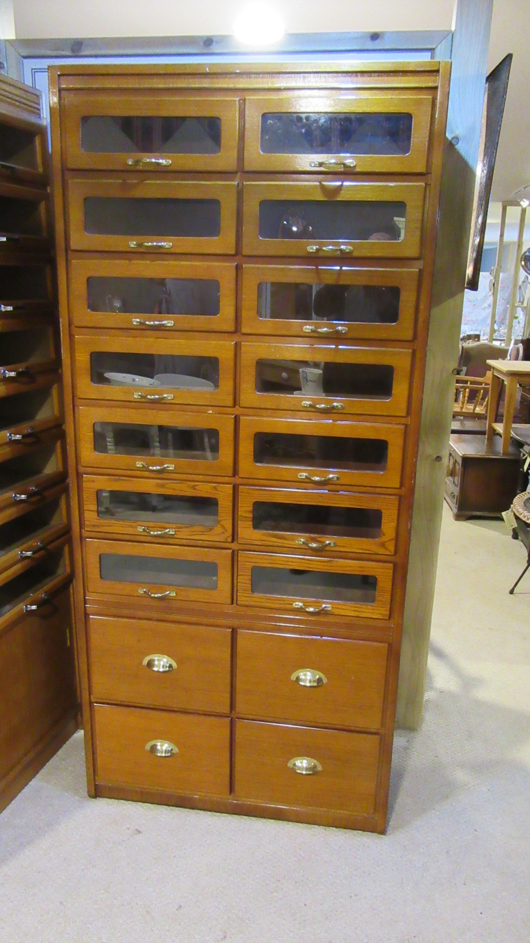 VINTAGE OAK HABERDASHERY SHOP DISPLAY CABINET