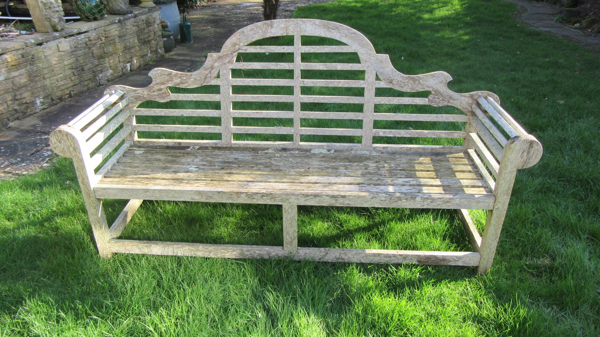 VINTAGE WEATHERED TEAK LUTYENS GARDEN BENCH / SEAT