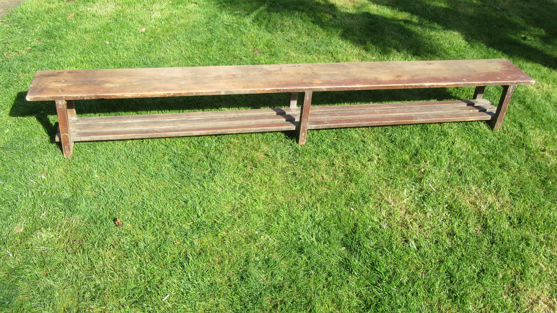 ANTIQUE PINE SCHOOL BENCH IN THE ORIGINAL PAINT