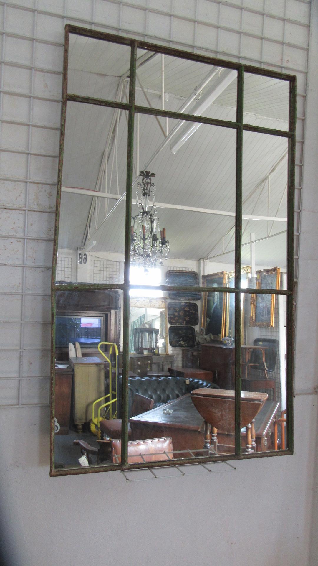 ANTIQUE CAST IRON INDUSTRIAL WINDOW MIRROR