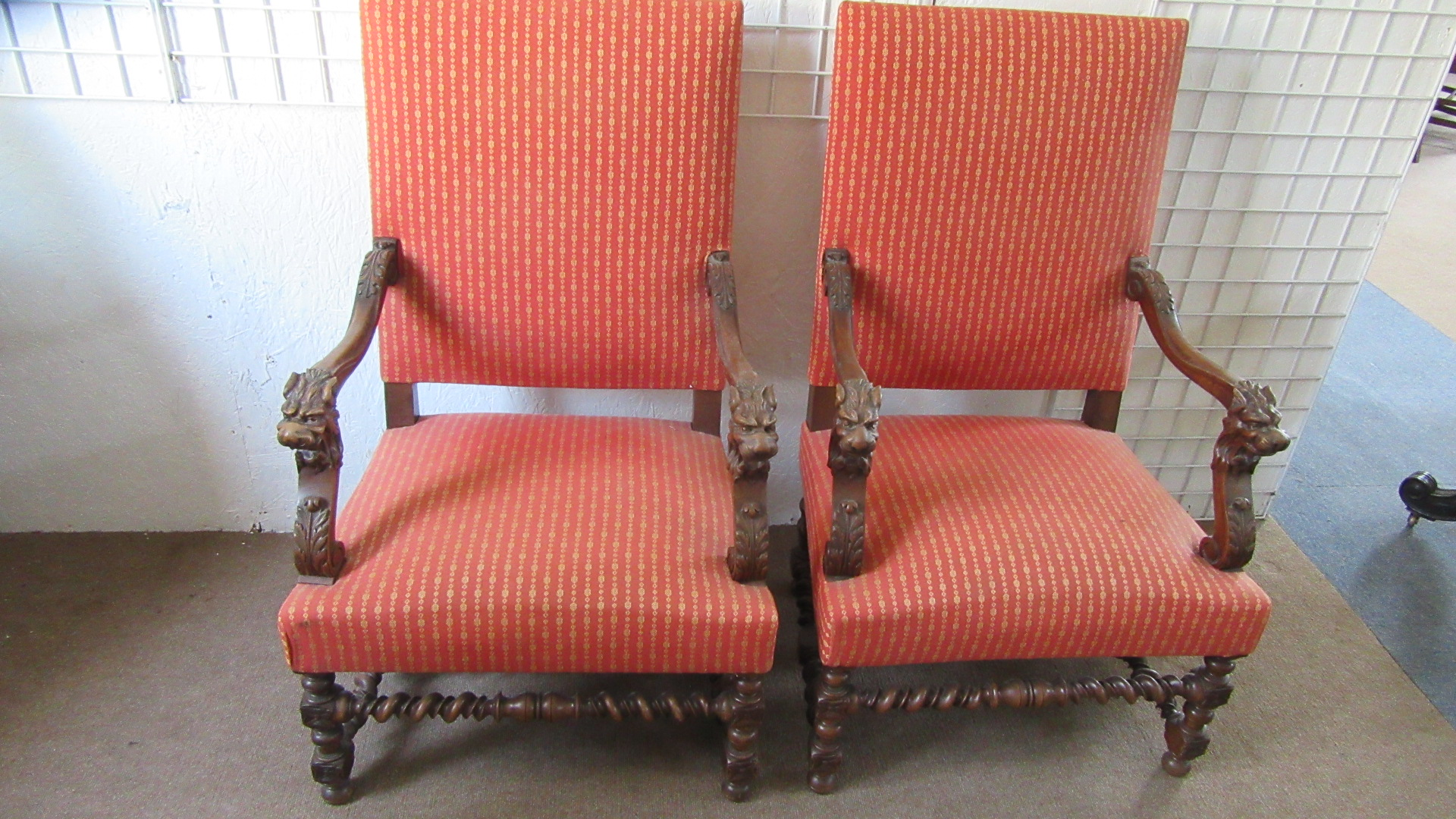 PAIR OF FRENCH ANTIQUE WALNUT OPEN ARMCHAIRS