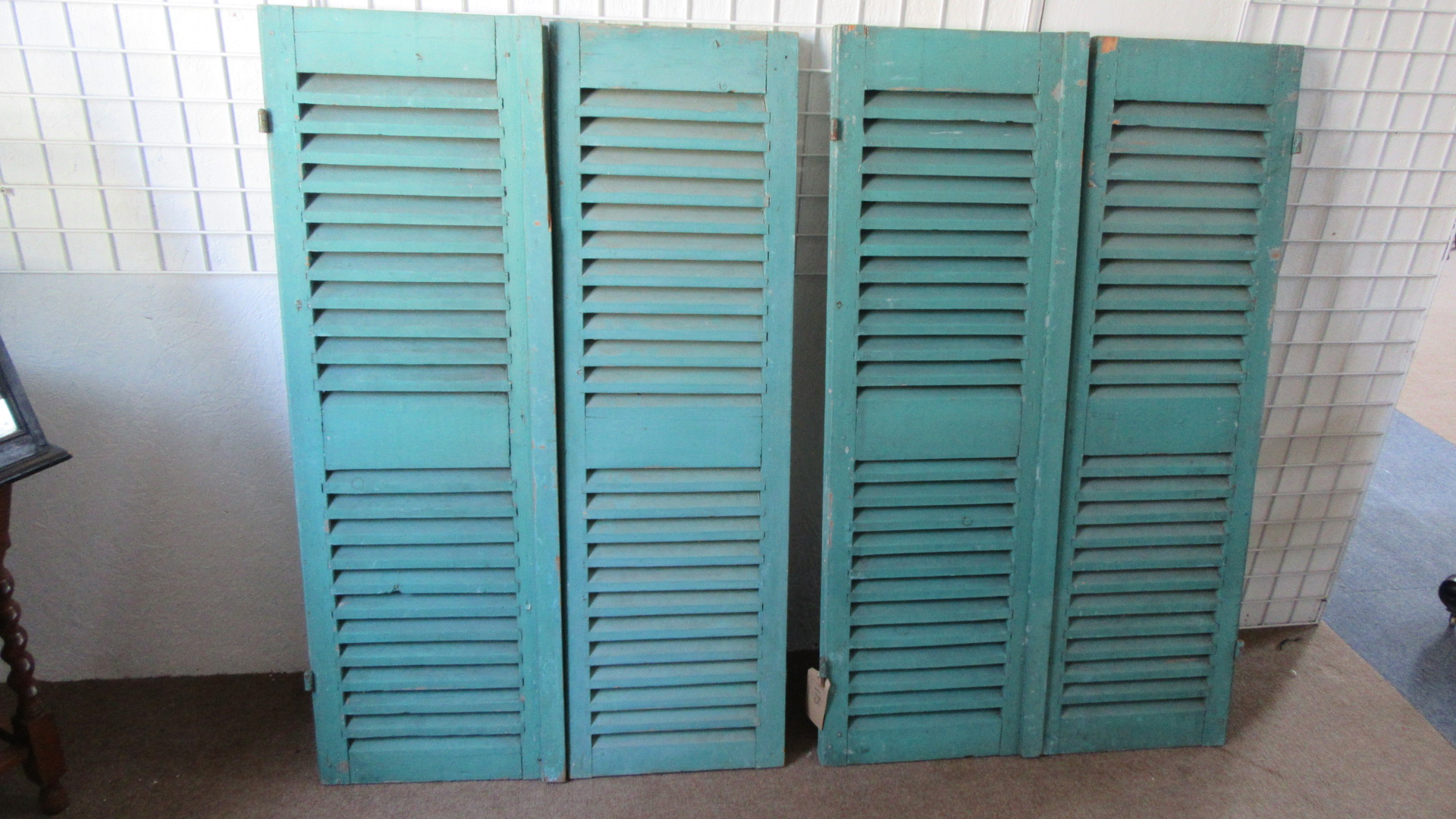 TWO PAIRS OF ANTIQUE PAINTED SHUTTERS