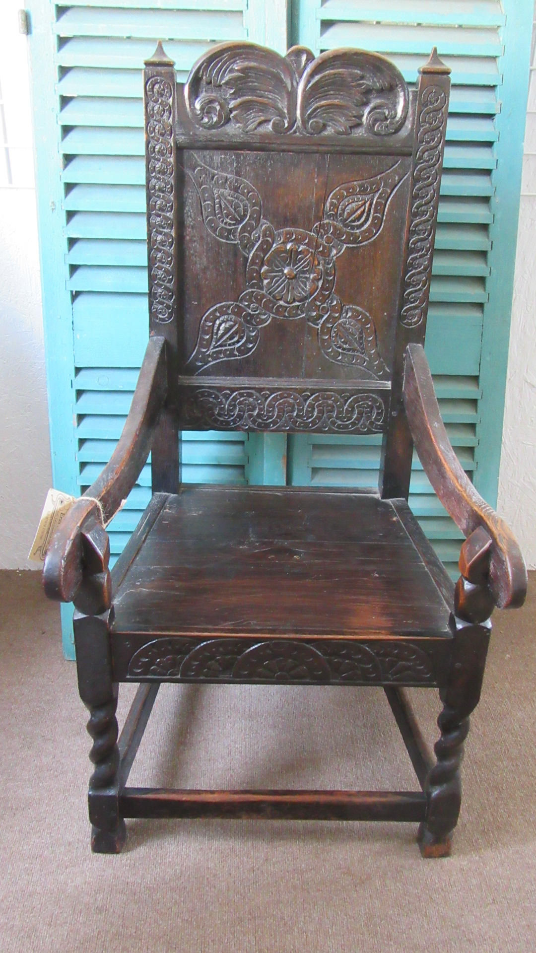 ANTIQUE OAK WAINSCOTT ARMCHAIR