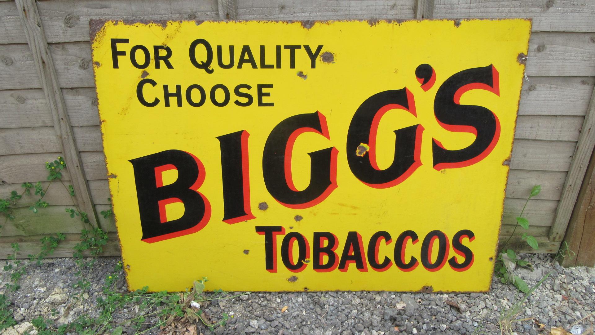 ANTIQUE BIGGS CIGARETTES ENAMEL ADVERTISING SIGN