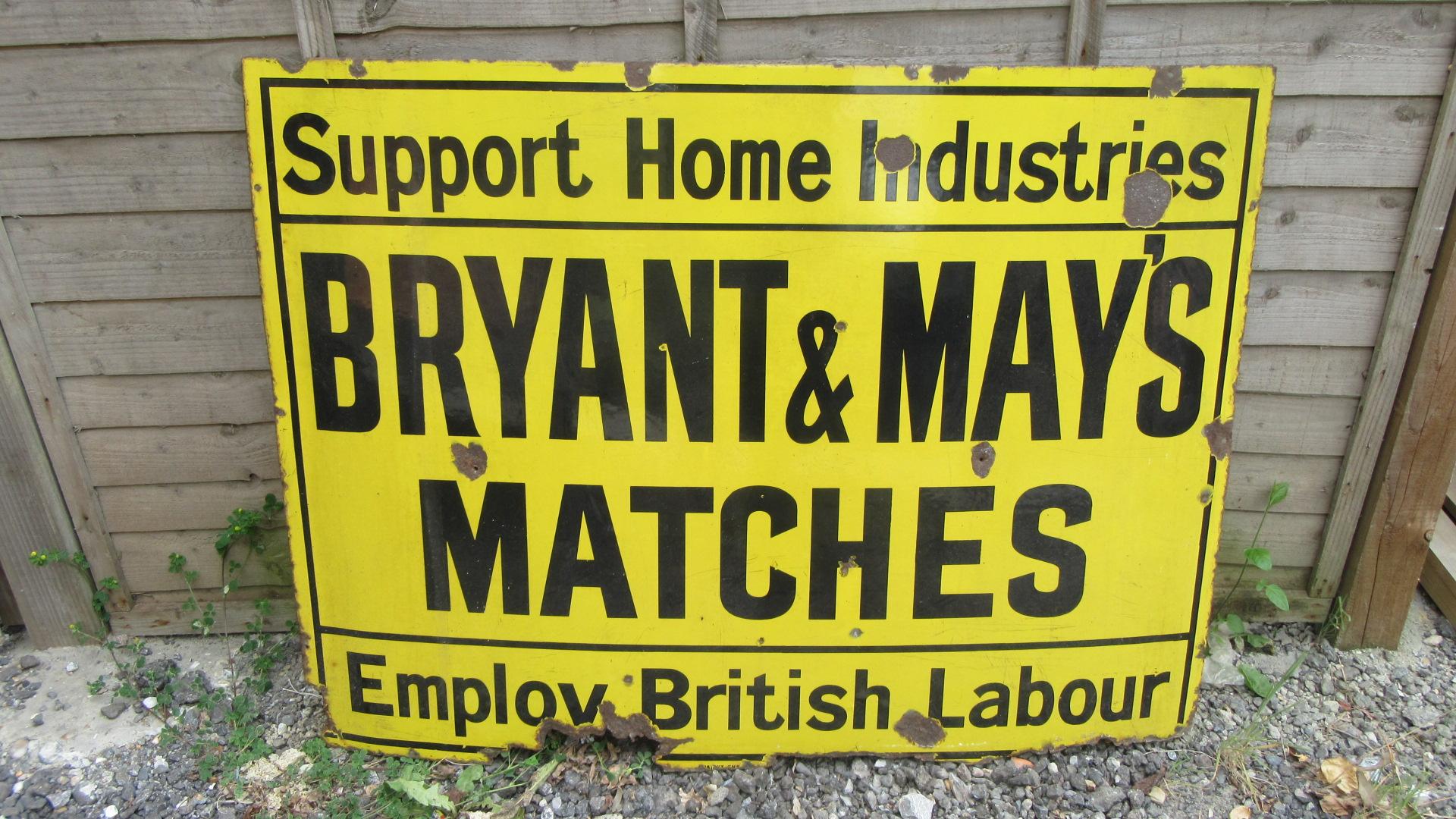 ANTIQUE BRYANT & MAY ENAMEL ADVERTISING SIGN