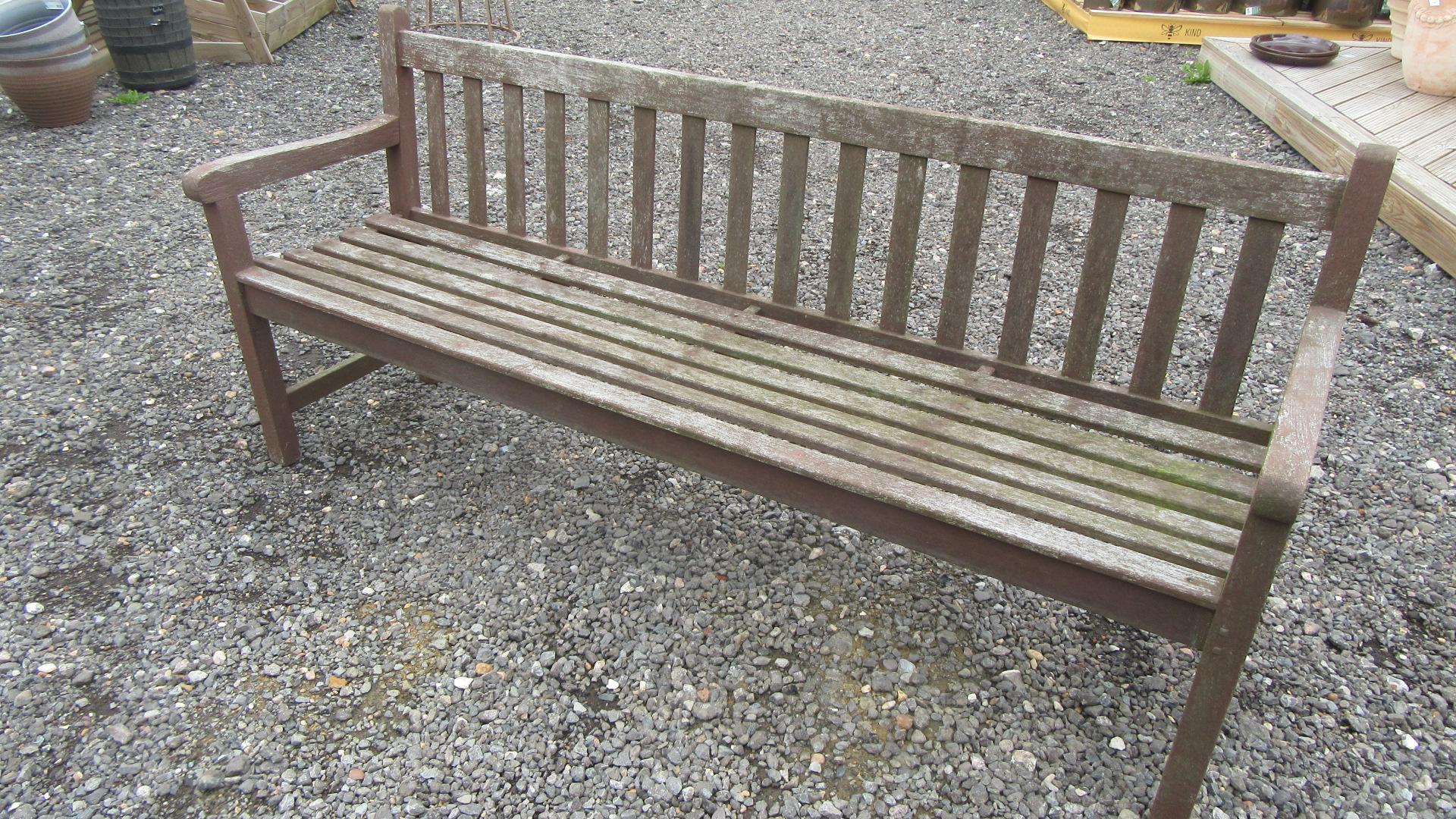 VINTAGE WEATHERED TEAK GARDEN BENCH / SEAT