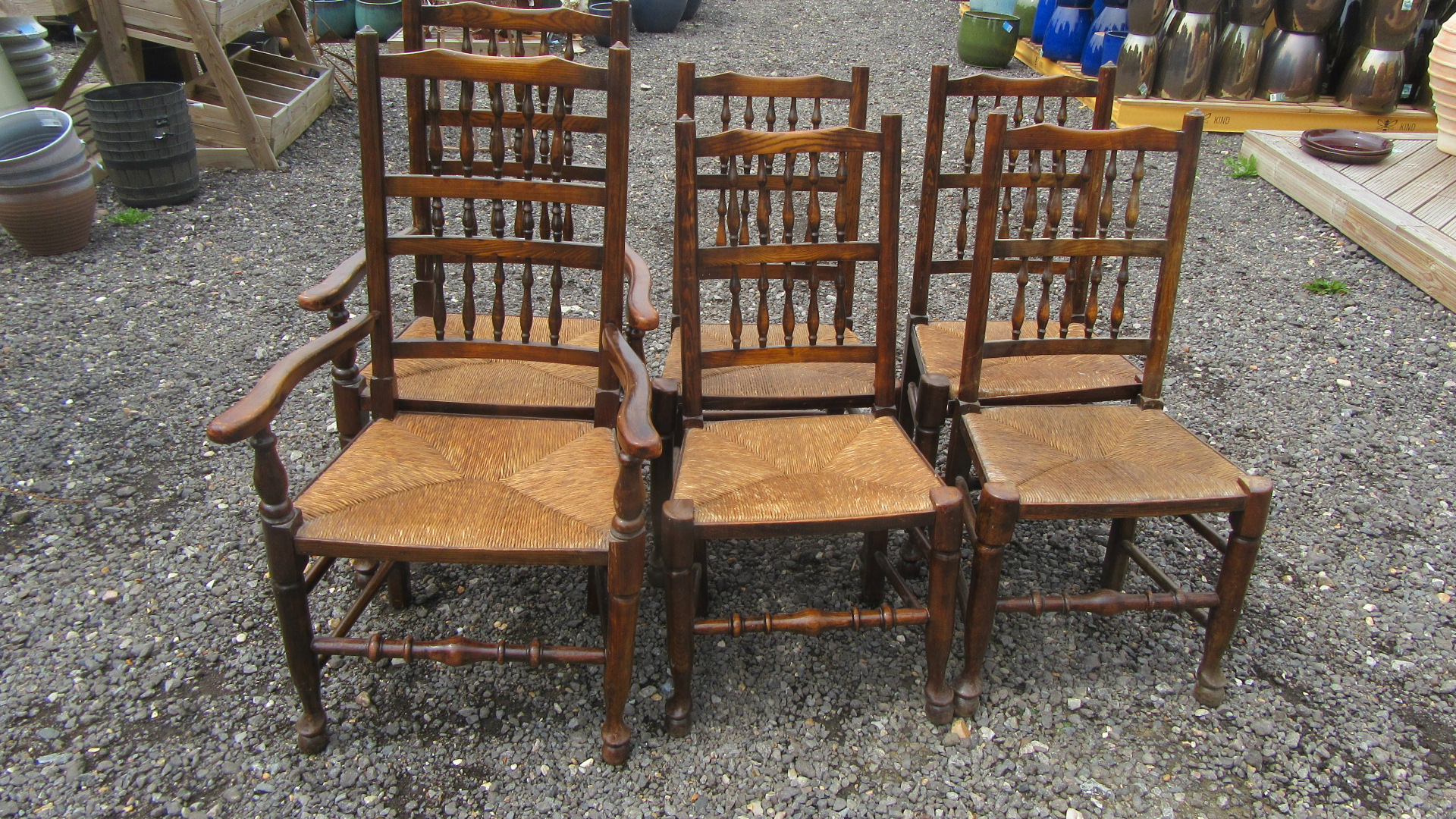 SET OF SIX COUNTRY OAK SPINDLE BACK DINING CHAIRS