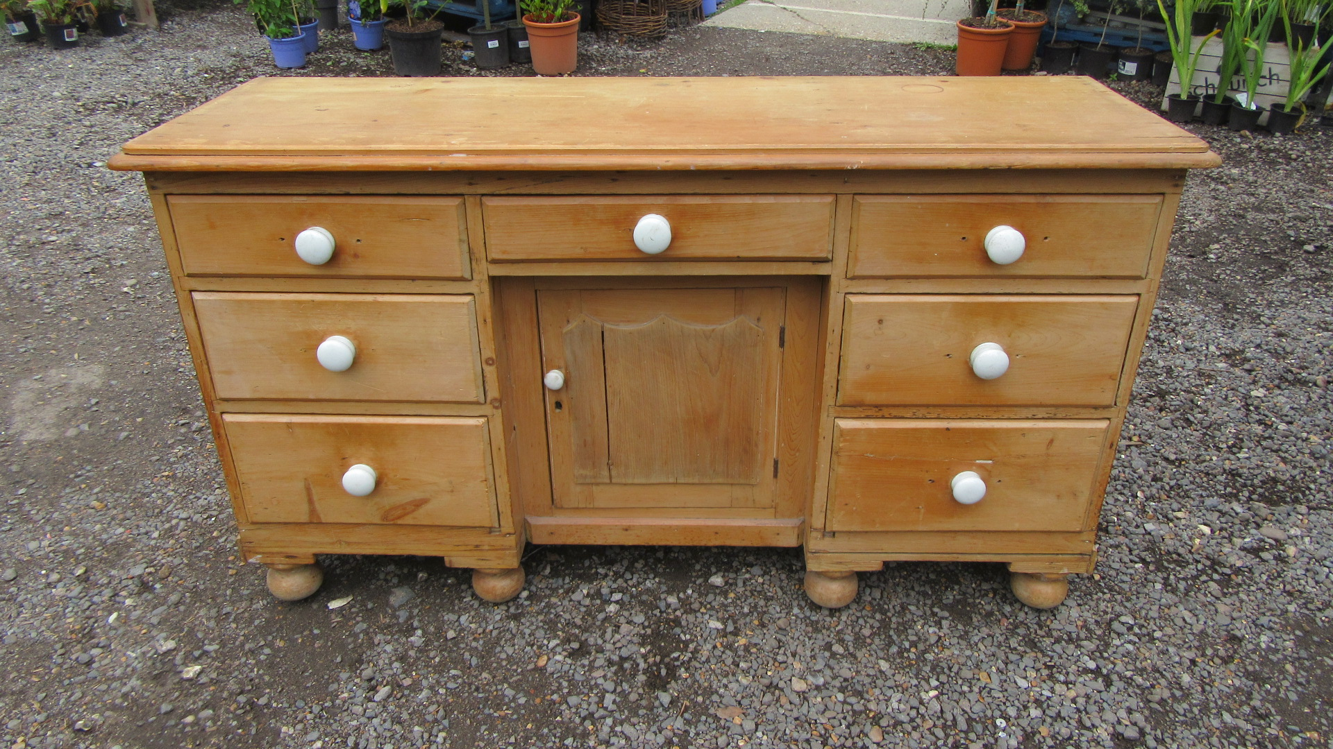 ANTIQUE VICTORIAN COUNTRY PINE DRESSER BASE / SIDEBOARD