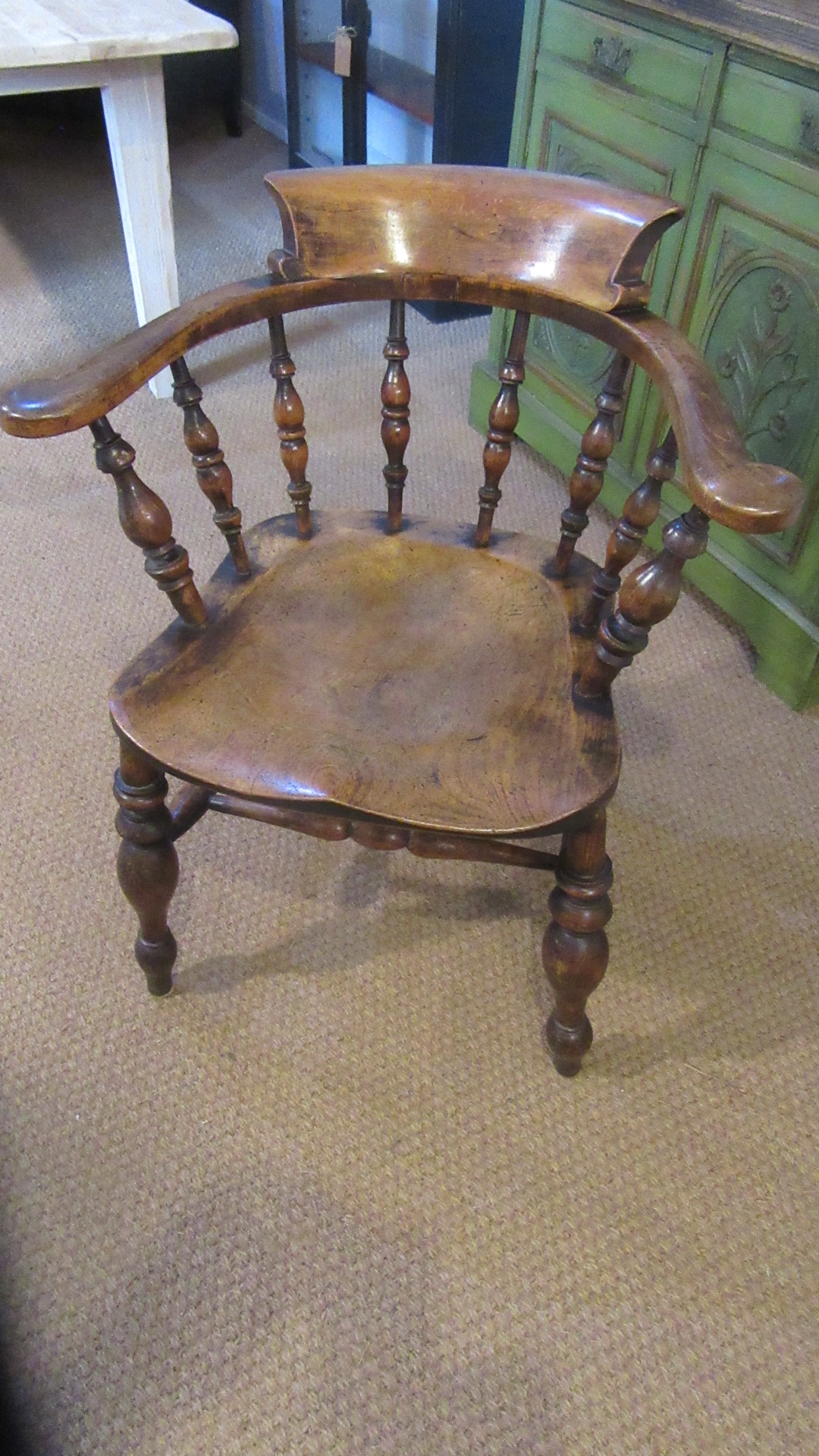 ANTIQUE COUNTRY ELM SMOKERS BOW ARMCHAIR
