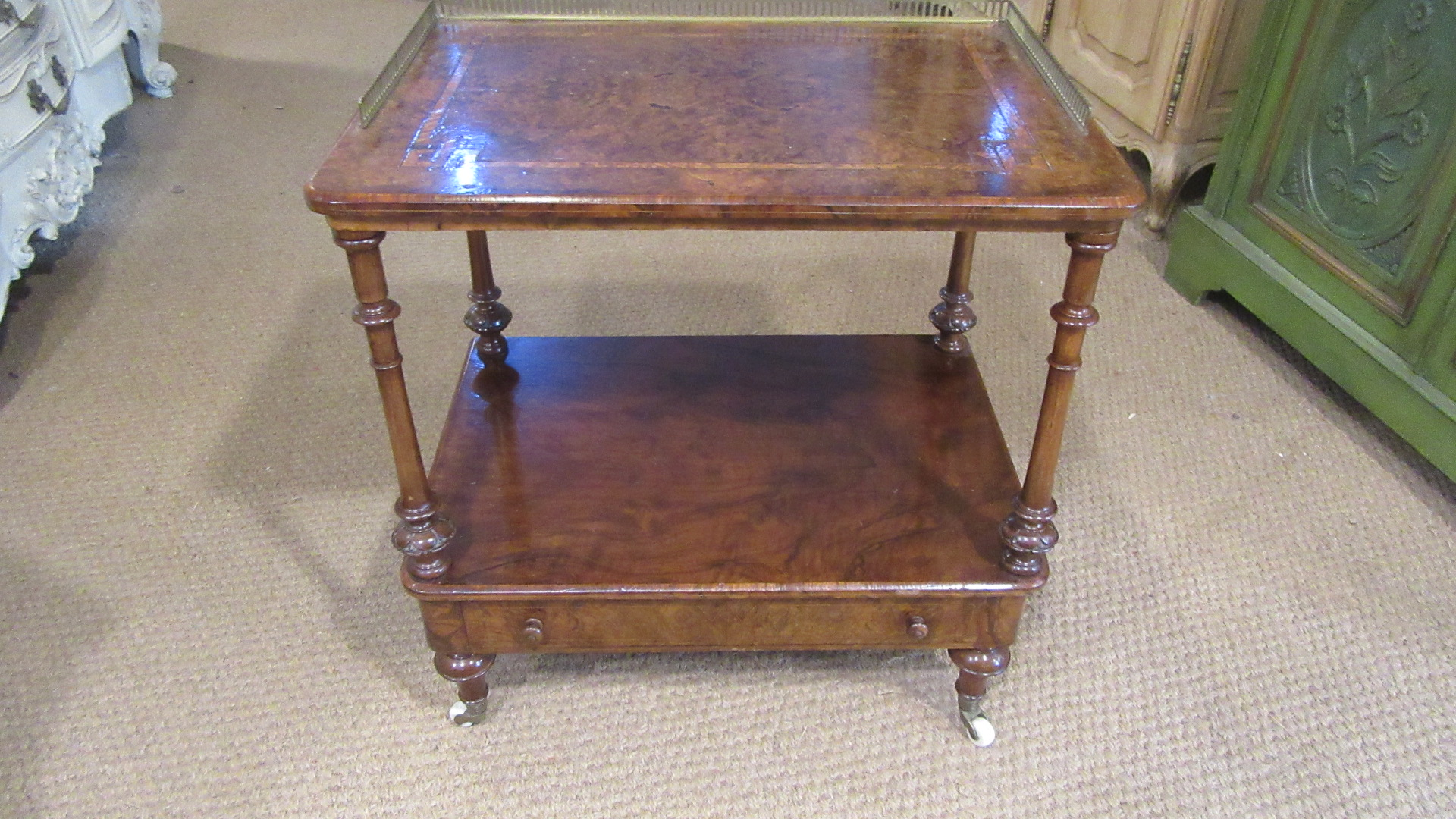 ANTIQUE VICTORIAN INLAID WALNUT TWO TIER WHATNOT