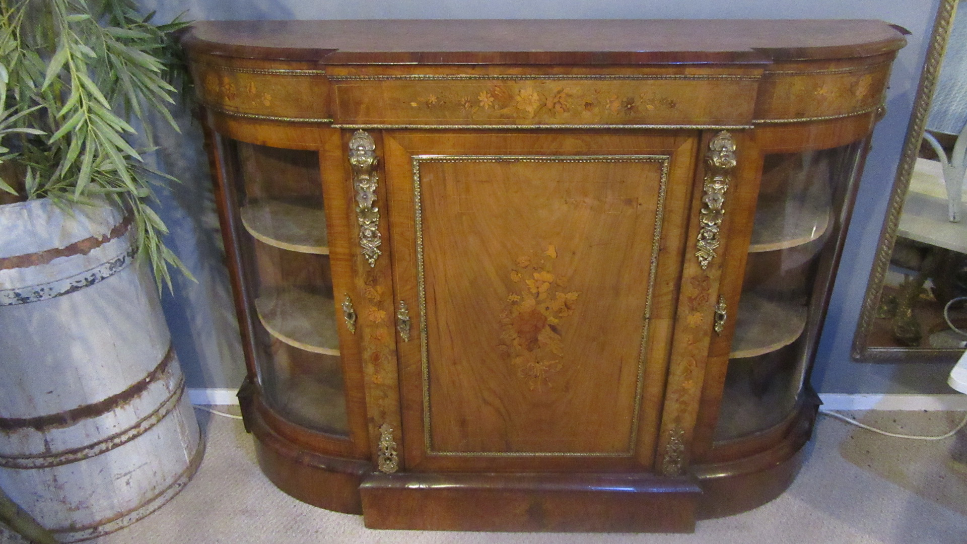 ANTIQUE VICTORIAN FIGURED WALNUT CREDENZA