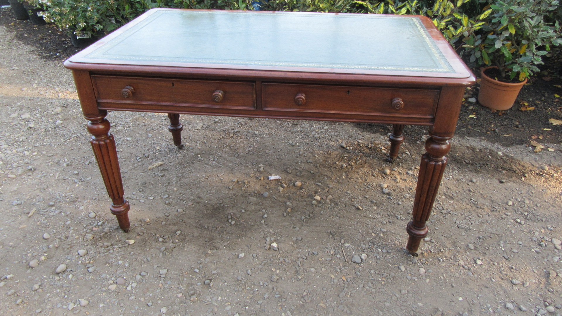 ANTIQUE VICTORIAN MAHOGANY DOUBLE SIDED WRITING DESK